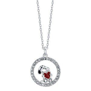 Snoopy You Hold My Heart Crystal Pendant Necklace